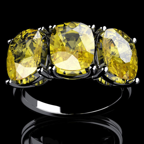 Authentic GIA 4.50 CT 3 stone Fancy Yellow Cushion Diamond Engagement Platinum