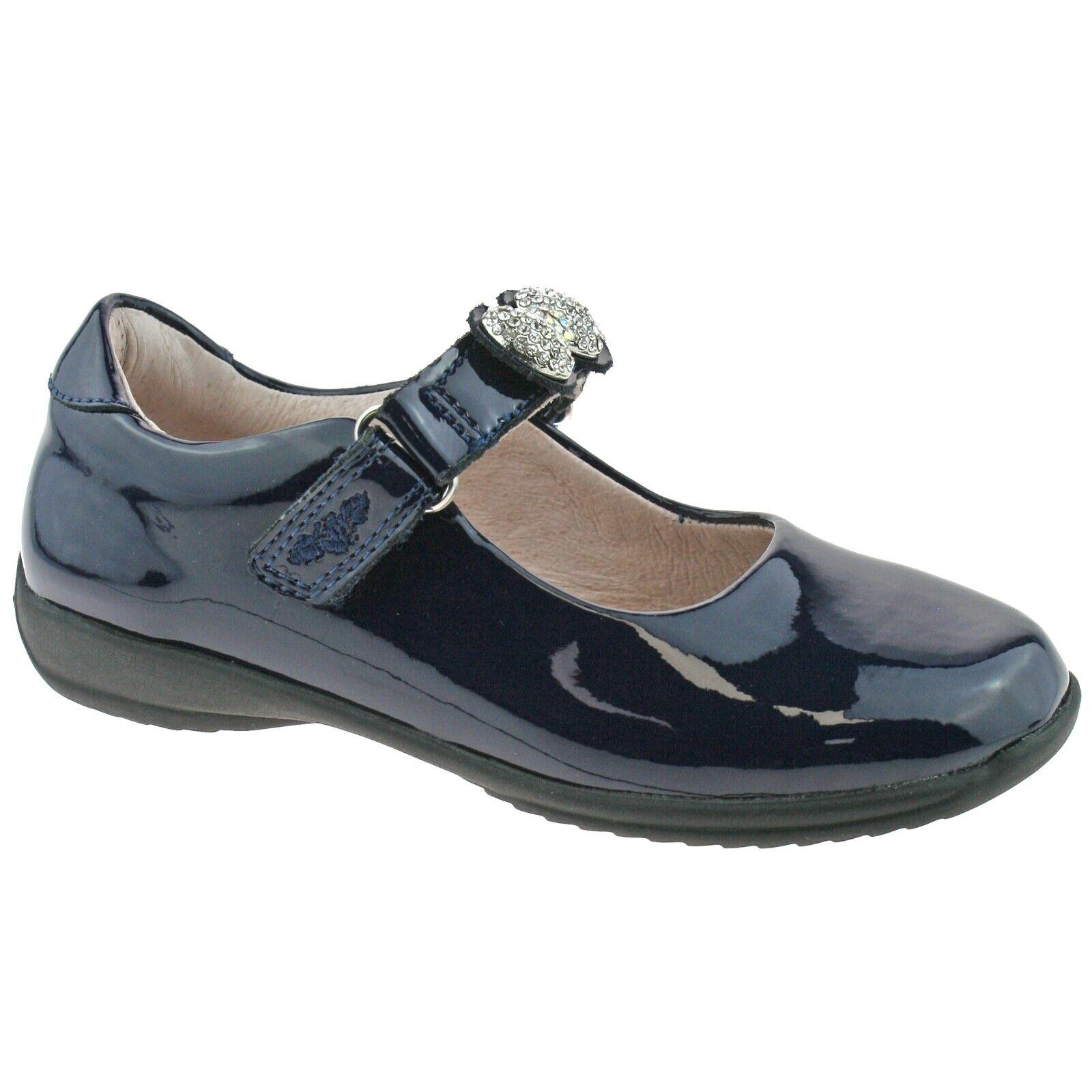 Mandy Navy Blue Patent School Shoes F