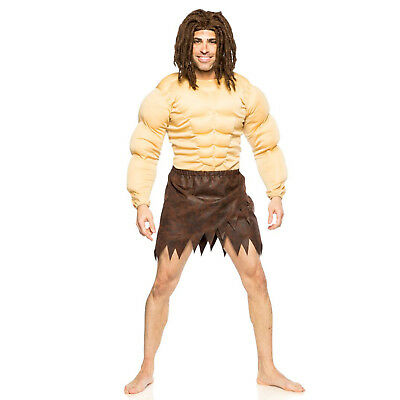 Mens Jungle Man Tarzan Padded Muscle Chest Wig Loincloth Adult Halloween Costume - Tarzan Halloween