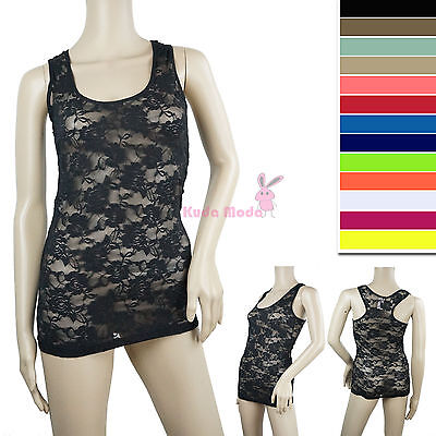 ROSE FLORAL LACE STRETCH RACER BACK CAMI SHIRTS SLIMMING MESH TANK TOP HOT TEE Lace Mesh Camisole