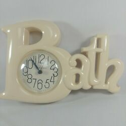 Vintage Burwood Bath Wall Clock Beige Tan Working Hanging New Haven Quartz 2654