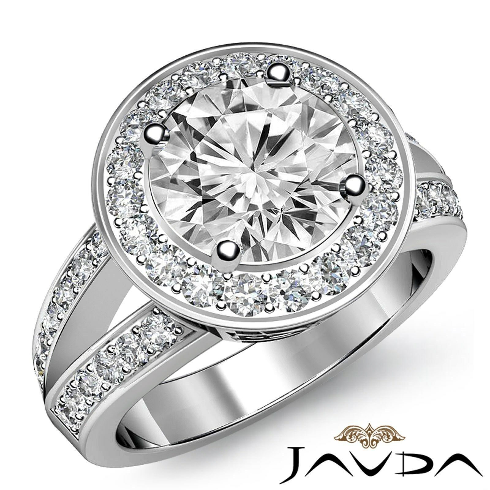 Filigree Split Shank Halo Round Diamond Engagement Pave Ring GIA H VS2 2.17 Ct