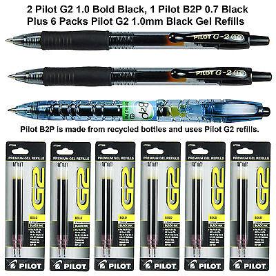 Pilot G2 1.0 Mm Bold Black Gel Ink Pens With Refills 9 Piece Assortment
