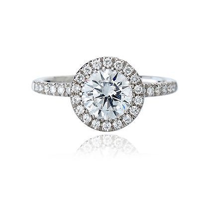0.90 CT DIAMOND ENGAGEMENT RING H COLOR EGL CERT 18K WHITE GOLD 3.08 gr TAXFREE