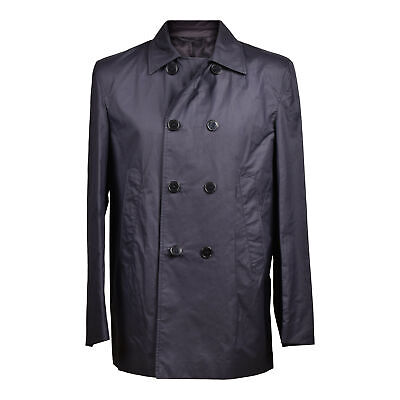 Versace Collection Men's Polyester Navy Blue Trench Coat EU 48-52 US S-L NEW
