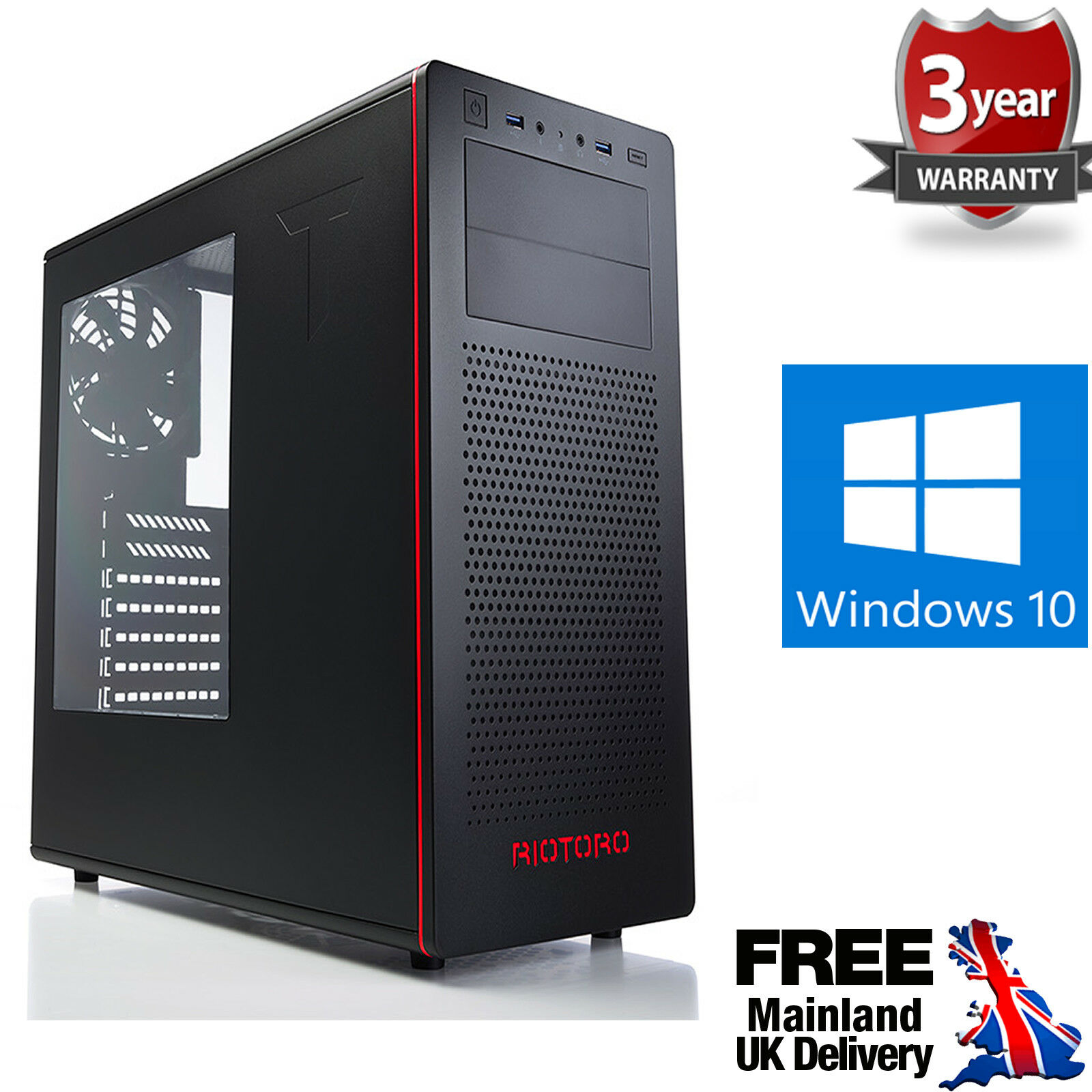 Computer Games - Ultra Fast AMD Quad Core Radeon HD 8GB 1TB Windows 10 Gaming PC Computer R480