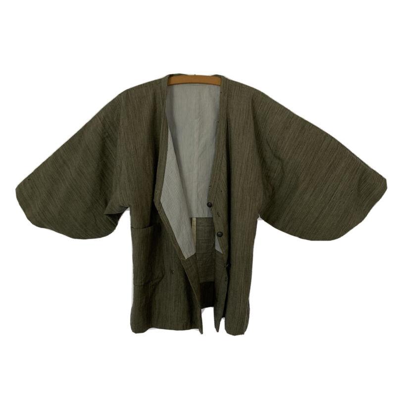 """Japanese Vintage KIMONO Shaped Striped Wool Jacket/ Short Coat Length 26.4"""""""