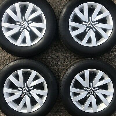 "Set Genuine VW Passat 16"" Alloy Wheels Continental 215 60 Tyres 10 Spoke CC Eos"