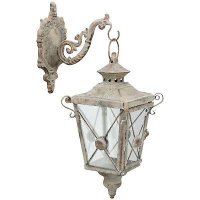 antik Metalllaterne Glas Ornament shabby NEU Laterne 50cm groß Metall grau