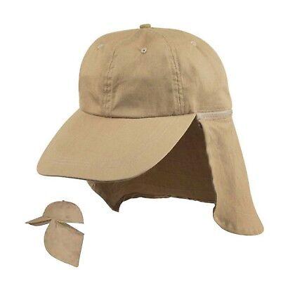 Ear Flap Cotton Long Visor Sun Hats Caps Washed Hunting Hiking Beach