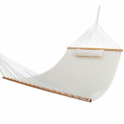 Heavy Duty Fabric Double Hammock With Pillow Spreader Bar 1-2 Person Swing Hang