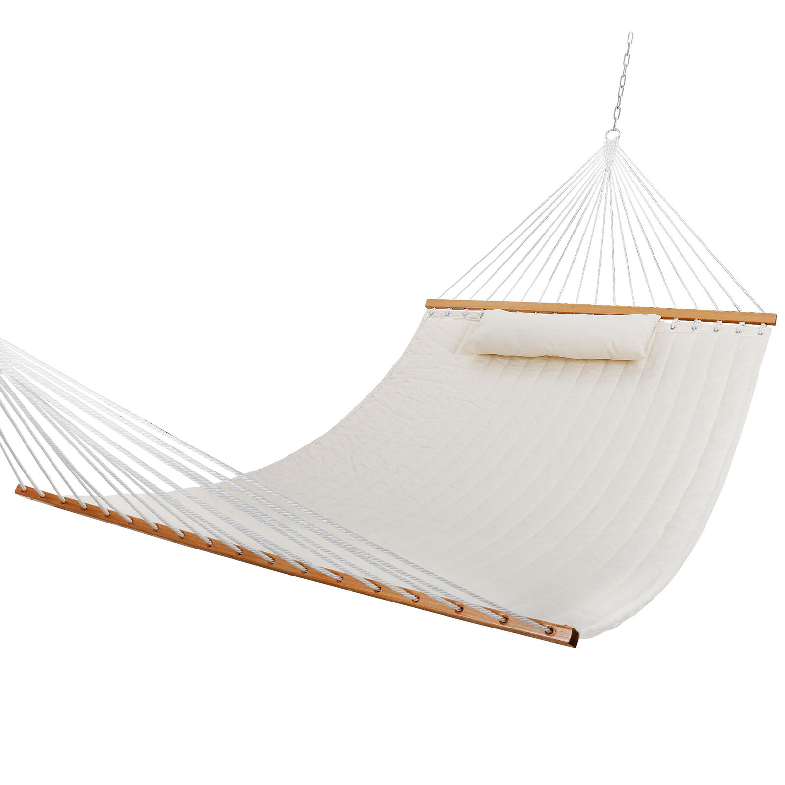 Double Hammock Quilted Fabric Sleeping Bed Swing Hang W/ Pillow 2 Person White Hammocks