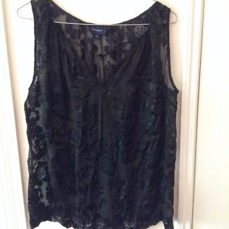 Witchery Black Transparent Patterned Top