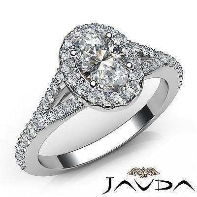 Halo Oval Natural Diamond Engagement Split Shank Prong Ring GIA F VVS2 1.21 Ct