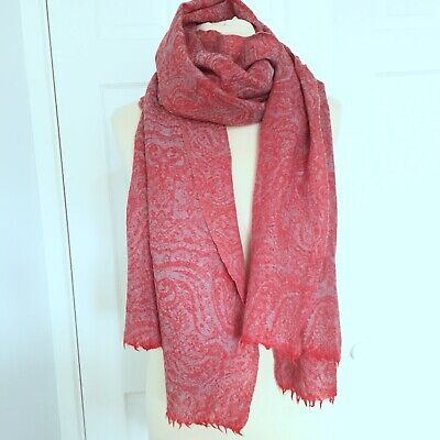 Khadi And Co BESS NIELSEN Large Red Grey Shawl Scarf Wrap 100% Wool Lovely Used.