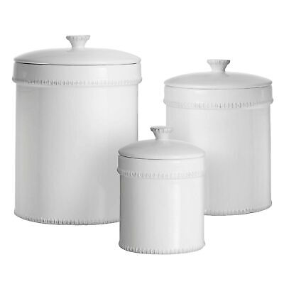 American Atelier 3 Piece Bianca Dash Canister Set, White