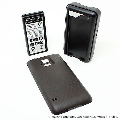6500mAh Extended Battery for Samsung Galaxy S5 SV I9600 Black Cover Charger