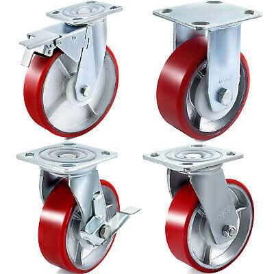 4 Pack Polyurethane Casters 4 5 6 8 Iron Core Fixed No Marking Heavy Duty
