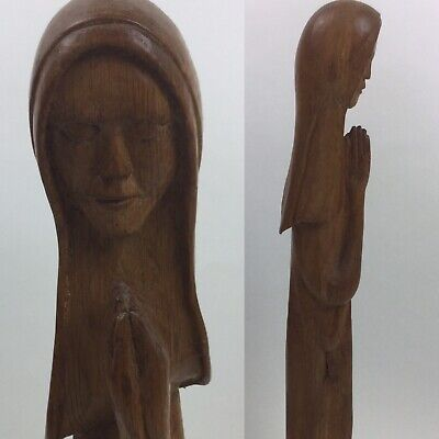 Vintage Tall Wooden Statue Carved Female Praying Mid Century Modern