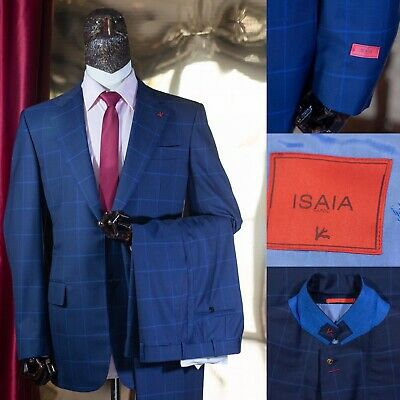 NEW $6300 ISAIA Blue CHECKS SUIT 40US/50IT SUPER 140s  2btn Jacket Made In Italy