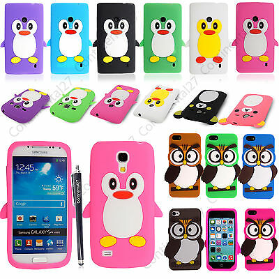 Soft Silicone Cartoon Style Gel Skin Case Cover For Various Phones+Guard+Stylus