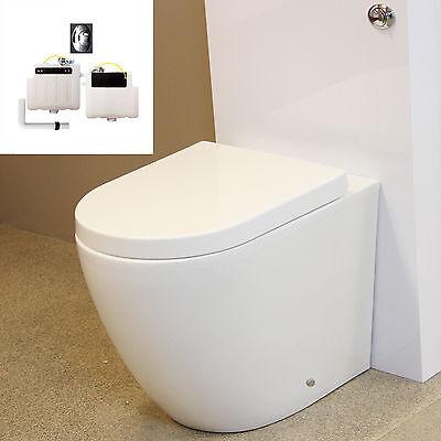 Toilet WC Back to Wall Bathroom Concealed Cistern Ceramic Soft Closing Seat B3R