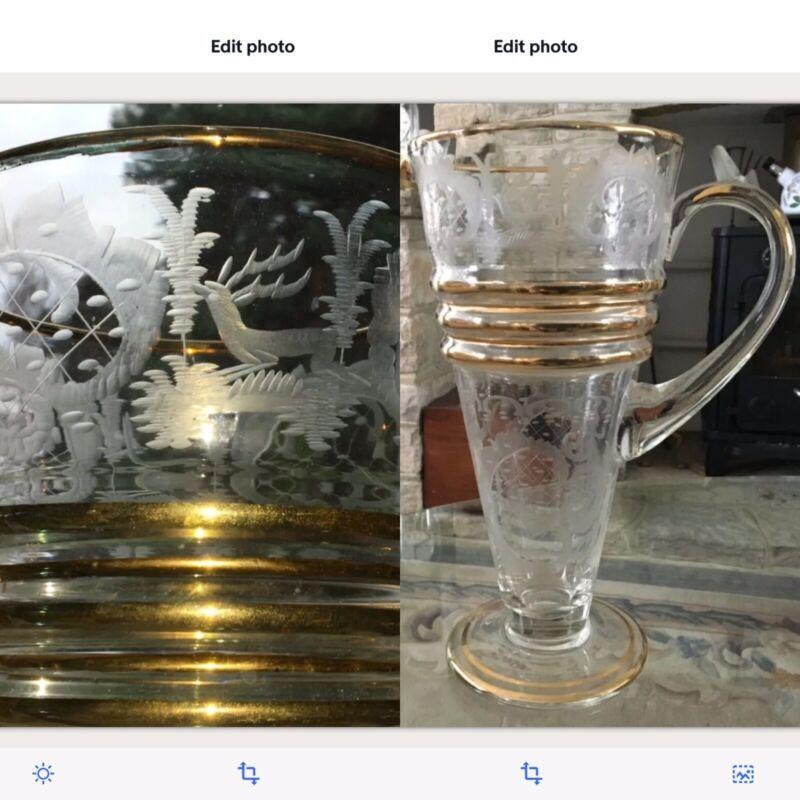 "11"" RARE THERESIENTHAL MOSER CZECH BOHEMIAN GILDED ENGRAVED Glass JUG DEER CASTL"