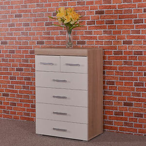 Chest Of 4 2 Drawers White Sonoma Oak Effect Bedroom Furniture Modern