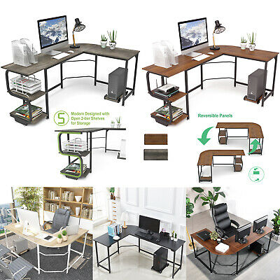 L-shaped Corner Desk Computer Desk Pc Gaming Table Workstation For Home Office