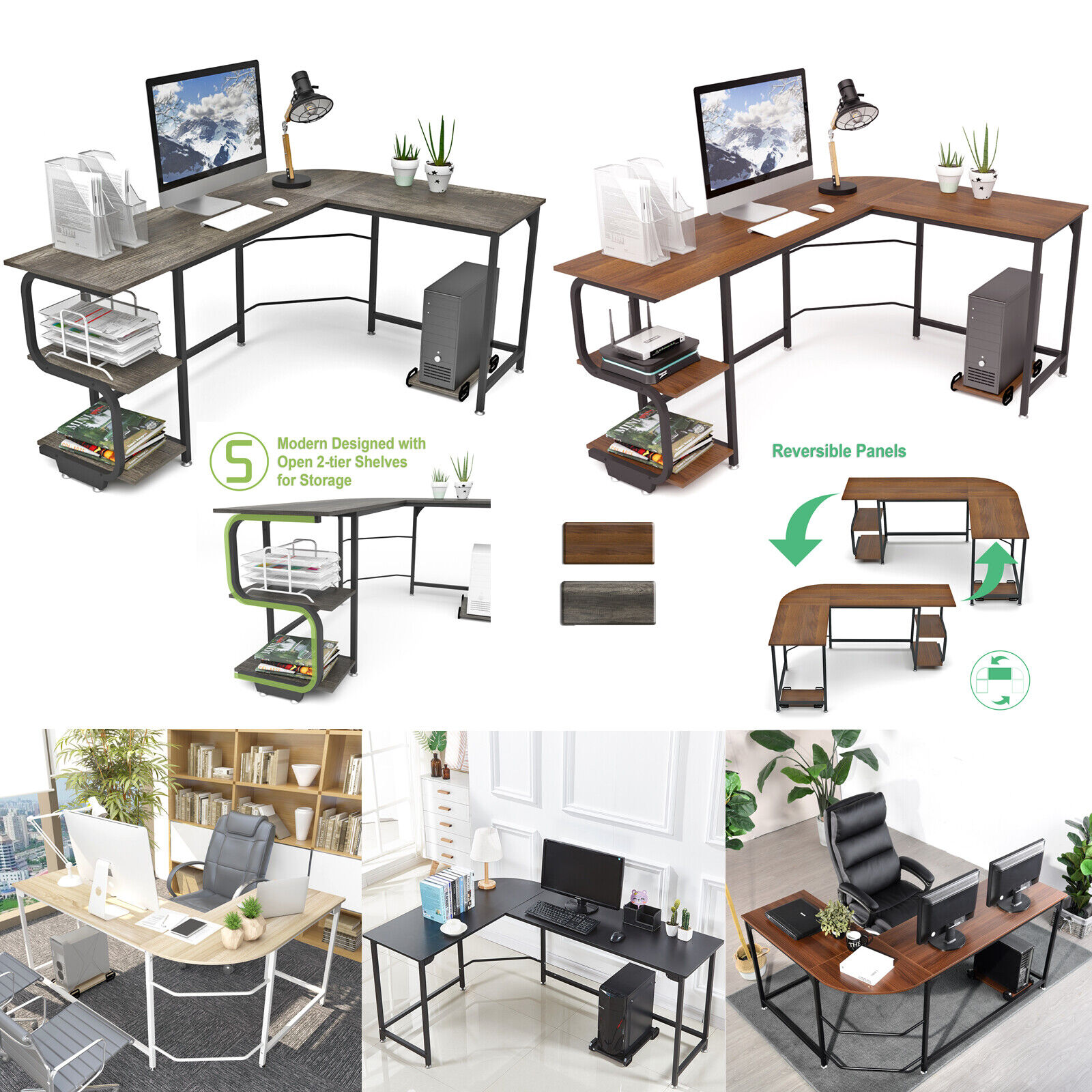L Shaped Computer Desk 95 5 Two Person Large Gaming Office Desk Adjustable For Sale Online Ebay