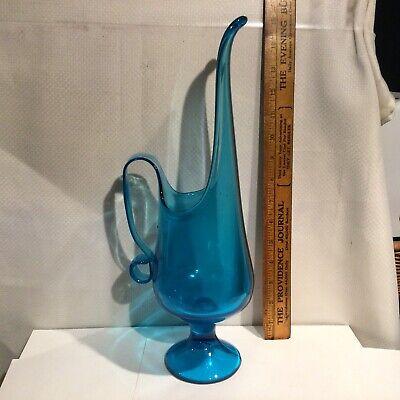 "Vintage Mid Modern Large 15"" Blue L.E.Smith Glass Pitcher"