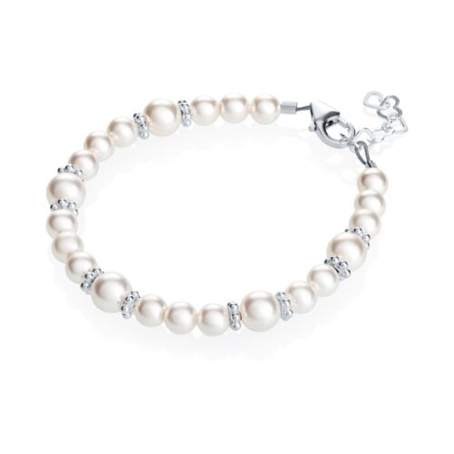 Baby Bracelet with White Swarovski Pearls and Sterling Silver Daisy Spacers