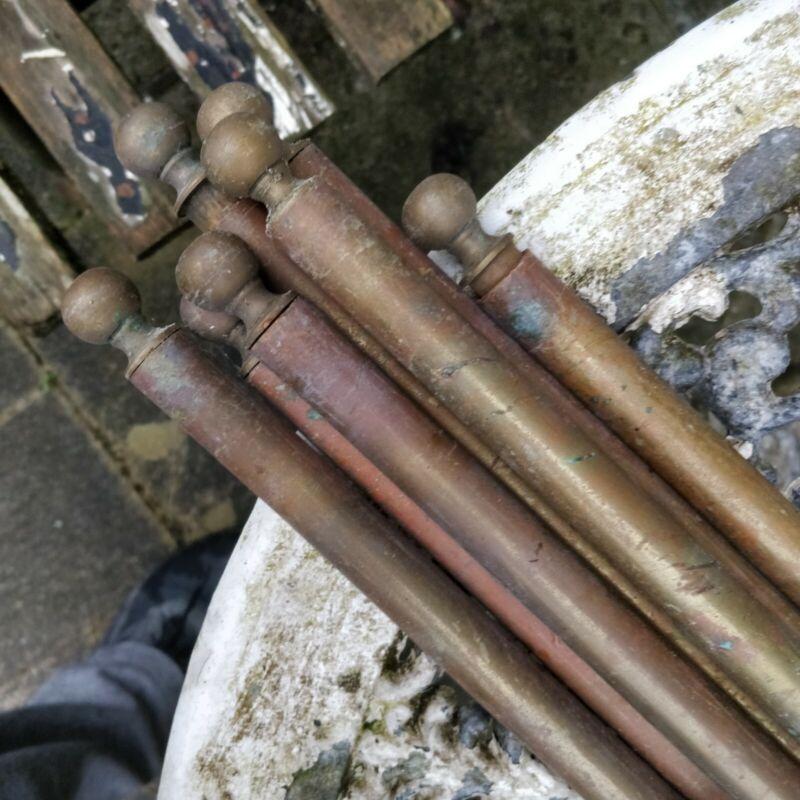 VINTAGE ANTIQUE  BRASS STAIR RODS x7 1.9cm diameter