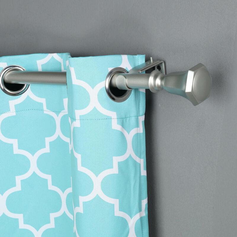 "SILVER 42-126"" long Adjustable Metal Curtain Rod Set Teardrop Finials Light Gray"