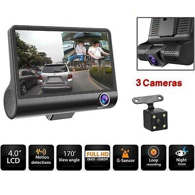 "3 Lens Dash Camera 4"" Car Truck DVR Rearview Dash Cam Recorder Camera 2019 NEW"