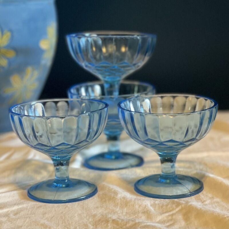Set Of 4 Vintage U.S. Glass Aunt Polly Blue Sherbets 1930s Depression Glass