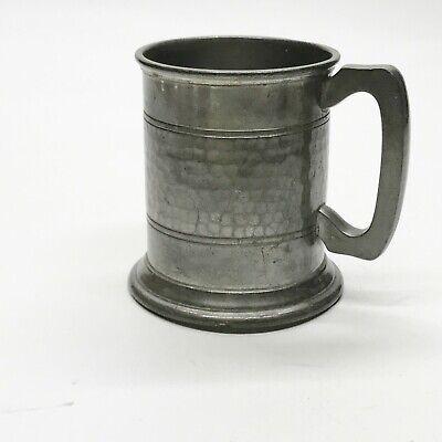 VINTAGE BEATEN PEWTER TANKARD DRINKING VESSEL GLASS BOTTOM