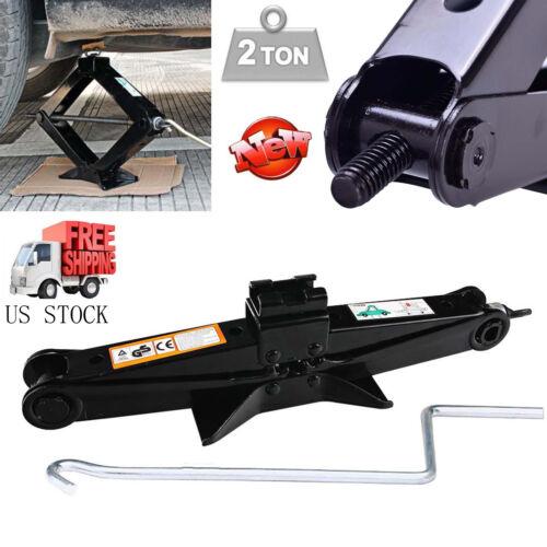 2 Ton Tonne Scissor Wind Up Jack for Van Car Garage & Chromed Crank Speed Handle