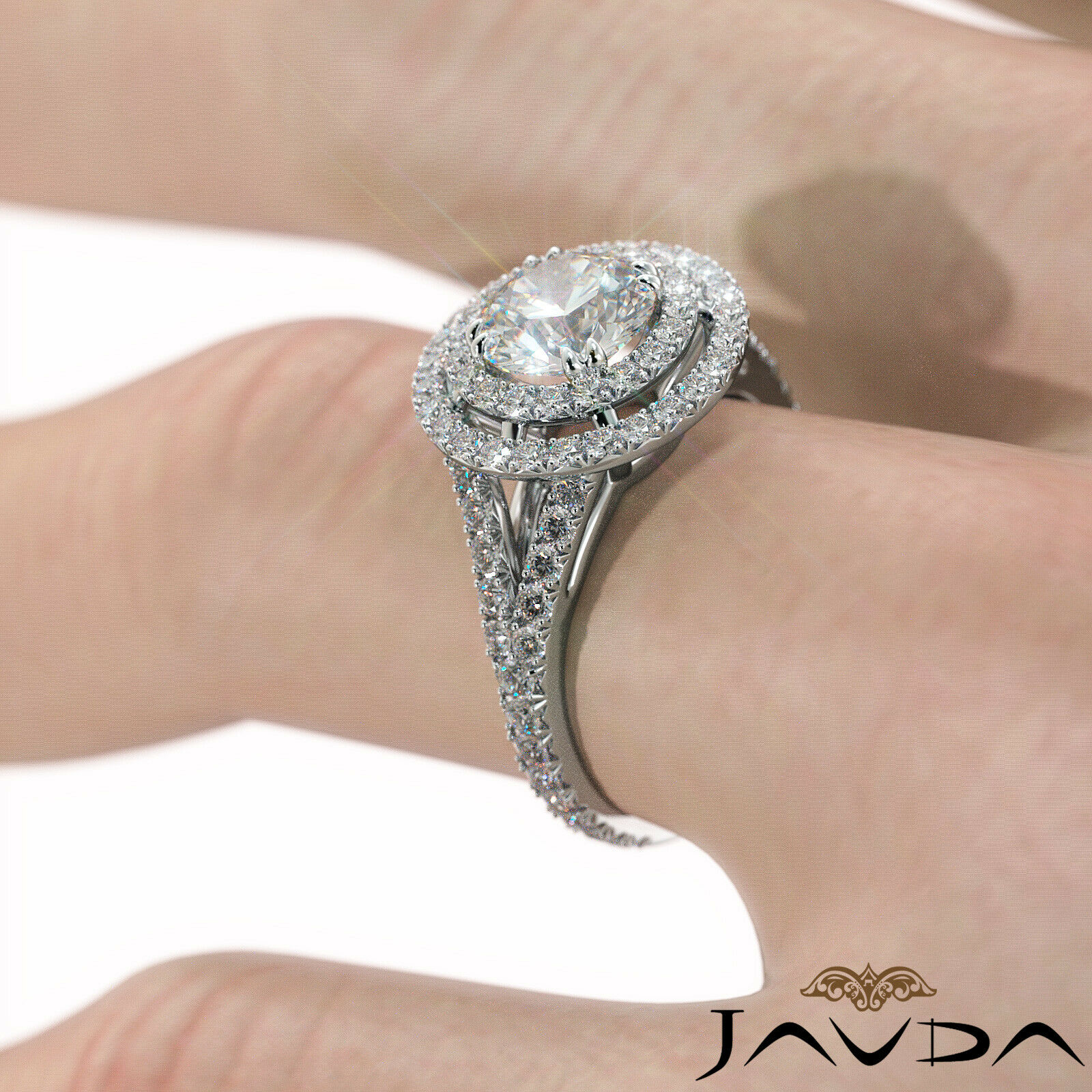 2.05ct French Pave Gala Halo Round Diamond Engagement Ring GIA F-VVS1 White Gold 7