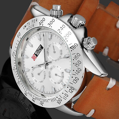 Aviator Mens Leather Mechanical Watch Pilots Silver Case Chronograph Silver Dial