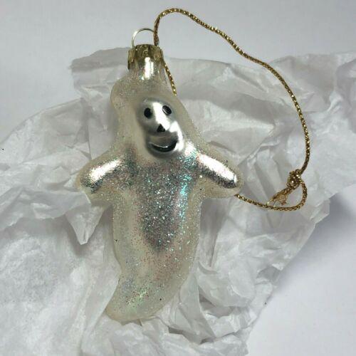 "Halloween 2002 Blown Glass GHOST Ornament Hallmark 2.5"" Glitter RARE Vintage VTG"