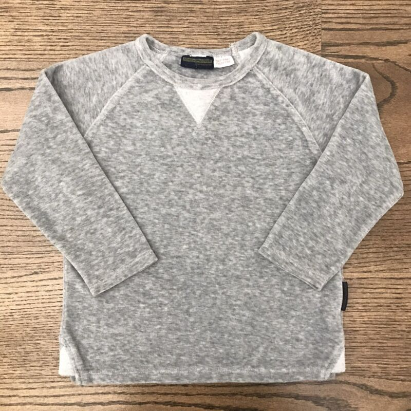 ZARA Baby Boy 3-4T Special Quality Velour Long Sleeve Sweater Top Pearl Grey EUC