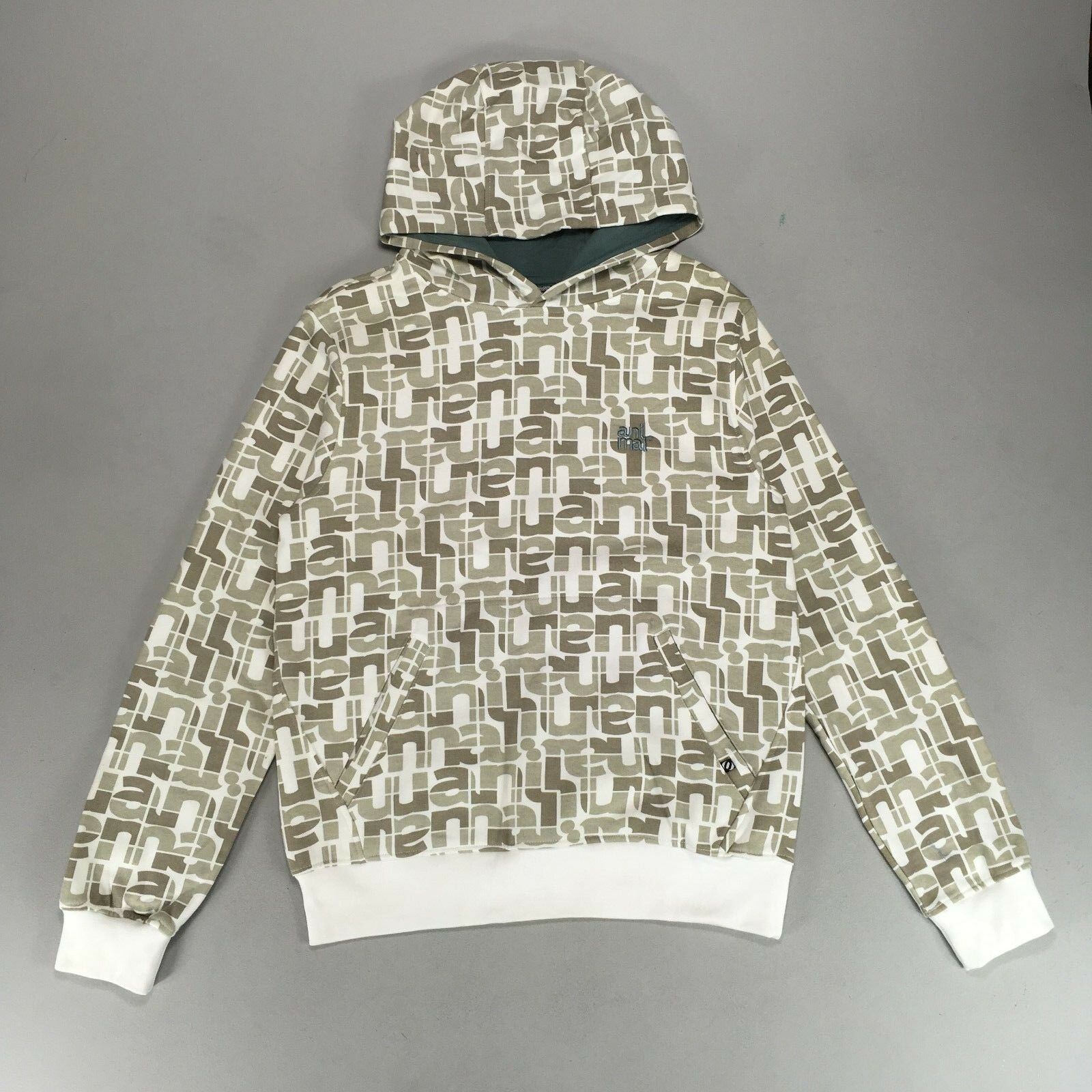 Details about Animal All Over Print Hoodie White Size S