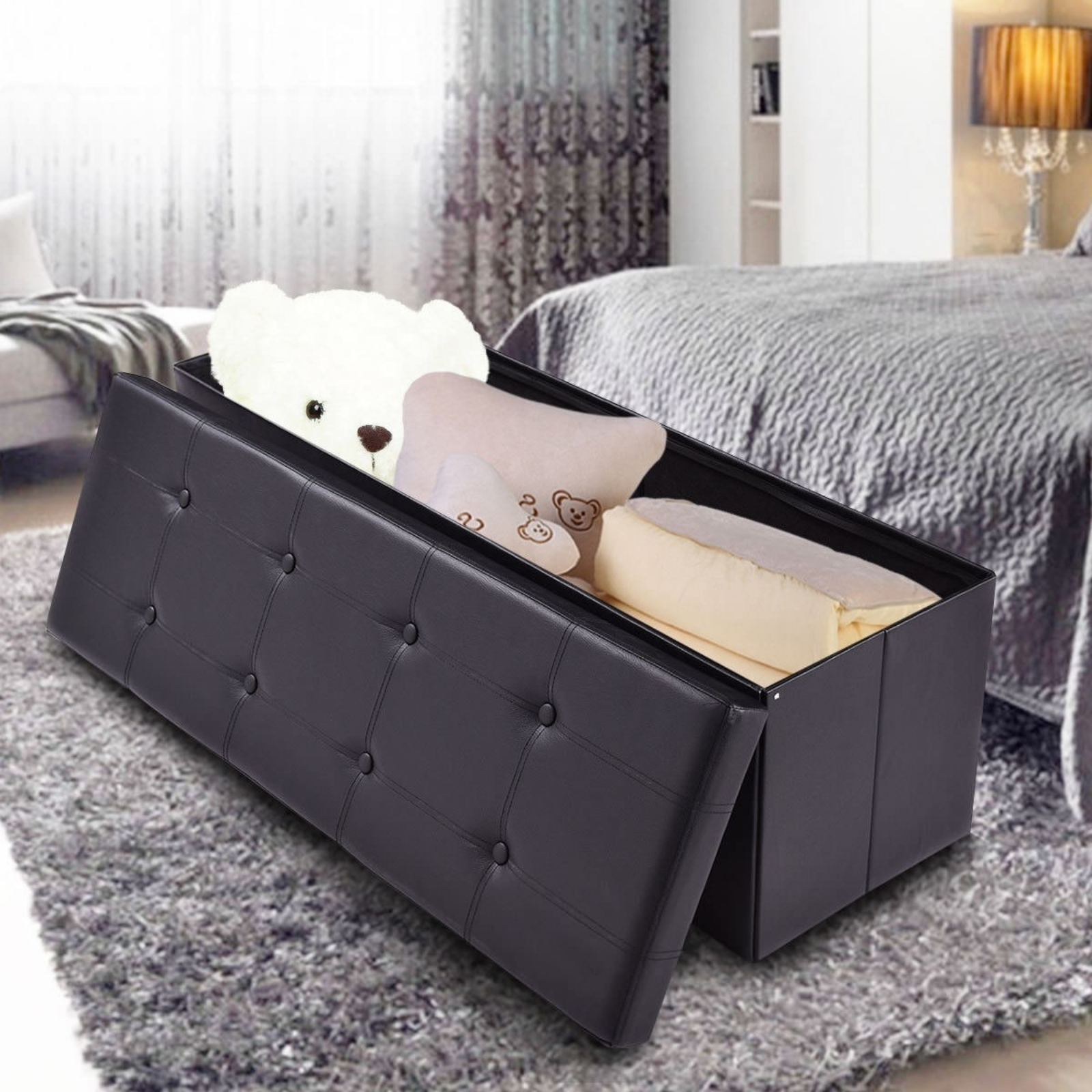 End Of Bed Storage Bench Seat Black Foot