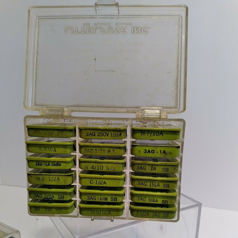 Vtg Littelfuse Fusetron 18 Boxes w/ Fuses In Plastic Box + additional 29 Boxes!