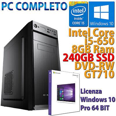PC COMPUTER ASSEMBLATO GAMING CORE i5-650 RAM 8GB SSD 240GB VGA GT710 2GB WIN 10