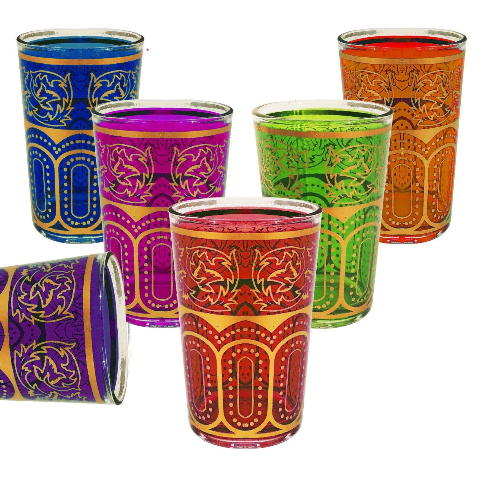 6er Set marokkanische teegläser Atlas - Arabische Orientalische Gläser Marokko