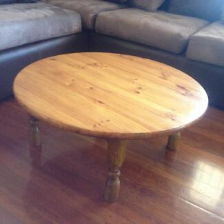 Round solid wood coffee table. Salisbury Brisbane South West Preview