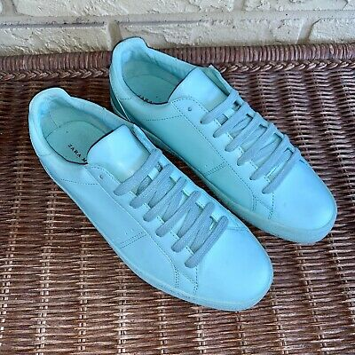 ZARA MAN Men's EU 40 US 7 Seafoam Mint Blue-Green Leather Sneakers Low Top Shoes