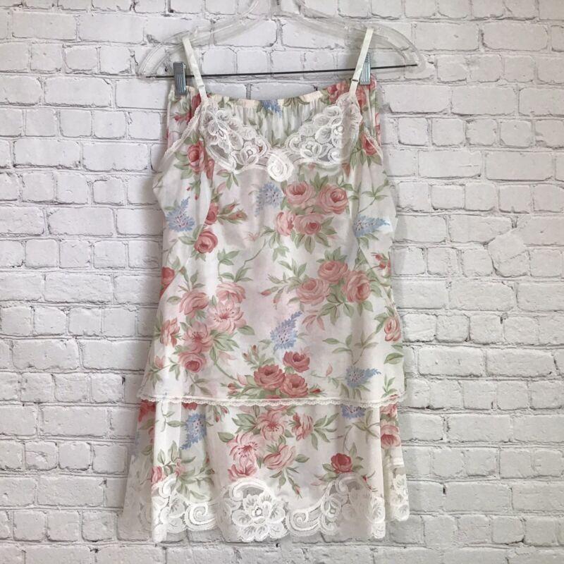 Vintage 80s Vanity Fair Floral Half Slip and Camisole Set size 36 Medium